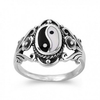 Sterling Silver Women's Chinese Yin Yang Ring Wholesale 925 Band 18mm Sizes 6-12 - CY11GQ4C94L