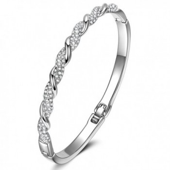 """LadyColour """"Never Be Apart"""" Silver Tone Bangle Bracelet 7"""" Made with Swarovski Crystals - C4184G7M3M2"""