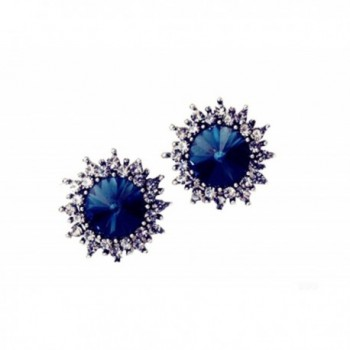 MMJULY Women's Fashion Rhinestone Plated Stud Earrings Jewelry - Blue - C317YCZMMQZ