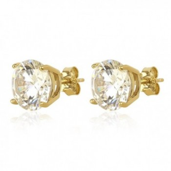 nOir Jewelry 14kt Gold Plated CZ Stud Earrings with Sterling Silver base & Highest Grade AAA CZ Stone - CR12NURI0NM