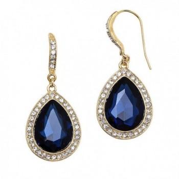 Rosemarie Collections Women's Teardrop Crystal Rhinestone Statement Drop Earrings - Gold Tone/Blue - C9185DDDSCC
