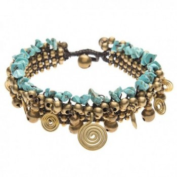 81stgeneration Women's Brass Gold Tone Simulated Turquoise Spiral Bead Ankle Anklet Bracelet- 27 cm - CJ114ZE4FMX