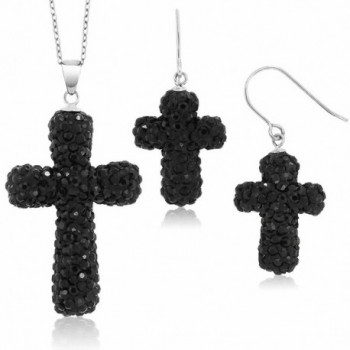 "Sterling Silver Black Pave Crystal Cross Pendant and Earrings Set with 18"" Chain - C01193FPQSB"