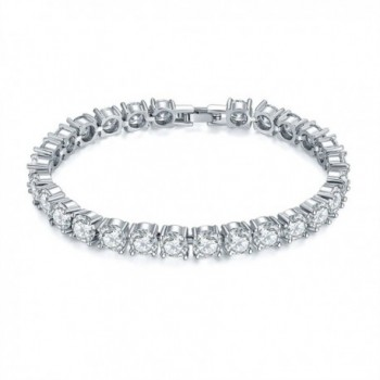 CARSINEL Round Cut Cubic Zirconia Tennis Bracelet for Woman and Girls Jewelry - White - C8182EE7995