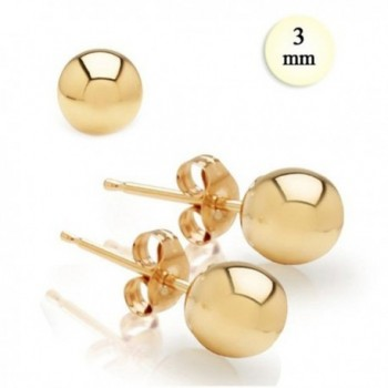 3MM High Polish 14K Yellow Gold Classy Ball Earrings with (Friction Post/Tension Back) - Crazy2Shop - C5117I0BU6Z