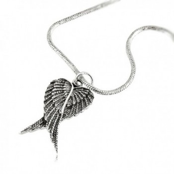 925 Oxidized Sterling Silver Feather Angel Heart Wings Pendant on Alloy Necklace Chain- 18 Inches - CO119K1C7I5