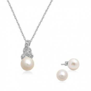 Jewelili Sterling Silver Cultured Pearl with Cr. White Sapphire Pendant Necklace And Stud Earrings Box Set - C31855D09YA