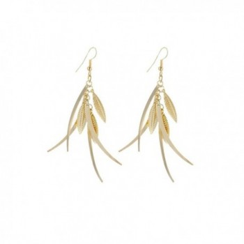IDB Delicate Filigree Dangle Triple Feather Drop Hook Earrings - available in silver and gold tones - Gold tone - CD187WKR6OM
