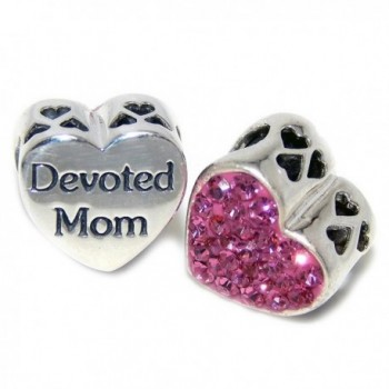 Pro Jewelry 925 Solid Sterling Silver 'Devoted Mom'/ Pink Crystals Heart Charm Bead - CR12O2B36Z2