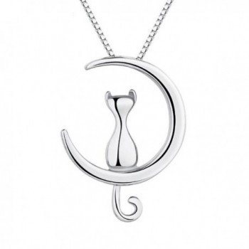 Potok S925 Sterling Silver Cat Moon Necklace Cat and Moon Pendant Necklace-18'' - CU17YSTH0KI