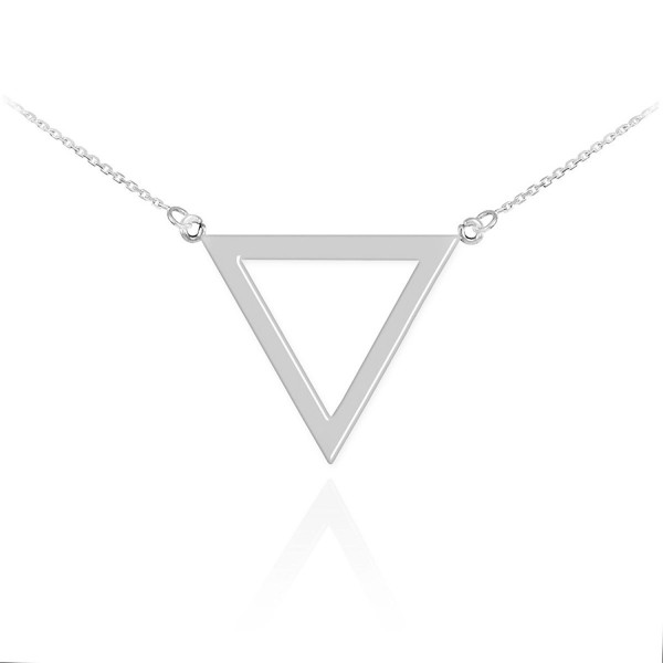 High Polish 925 Sterling Silver Geometric Pendant Inverted Triangle Necklace - CW11KBR5Z2H