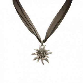 Bavarian Rhinestone Edelweiss Necklace (black) - Traditional German Dirndl- Lederhose Jewelry - C9116FD700V
