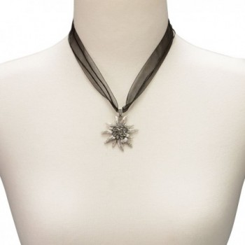 Bavarian Rhinestone Edelweiss Necklace black in Women's Pendants
