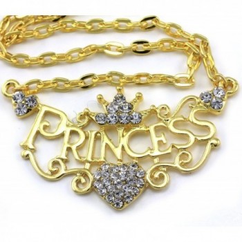 Princess Pendant Necklace Rhinestones Bridesmaid