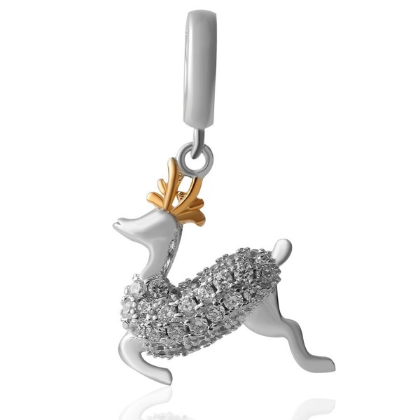 Christams Dangling Reindeer Charms Sterling - Dangle Reindeer - C812NYKPO28