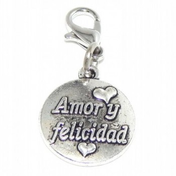 "Pro Jewelry Dangling ""Amor Y Felicidad Love and Happiness"" Clip-on Bead for Charm Bracelet 45225 - CF11V3W526N"