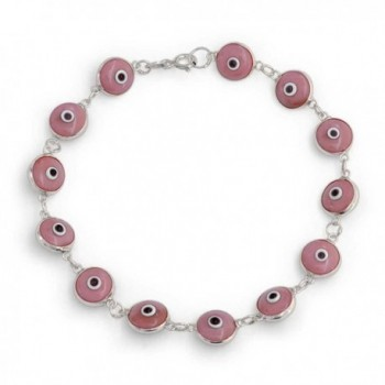 Bling Jewelry 925 Sterling Silver Pink Evil Eye Bracelet Glass 7in - CG11017GDUZ