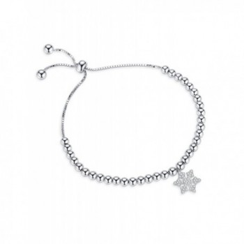 Edelweiss Adjustable Bangle Bracelets Charm Bracelet With Snowflake - Valentine's Day Gifts - SILVER - C41888CZE9L