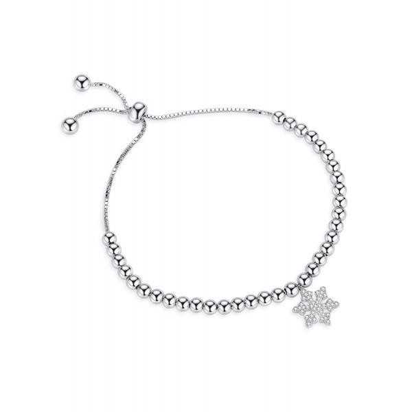 Edelweiss Adjustable Bangle Bracelets Charm Bracelet With Snowflake - Valentine's Day Gifts - SILVER - C41888CZE9L