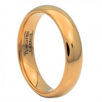MJ 5mm Gold Plated Polished Tungsten Carbide Wedding Ring Classic Half Dome Band - CW122E2DRAR