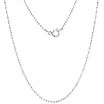 Sterling Silver Plain Pallini Bead Ball Chain Necklace 1.2mm - 5 mm Nickel Free Italy - CE111CNIUA7