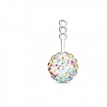 Pair of 10mm Crystal Paved Ball Earring Jacket/Cartilage Stud Add on Dangle - Aurora Borealis - CX182YC2UQE
