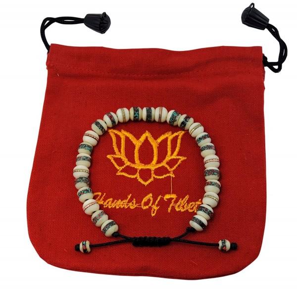 Tibetan Mala Yak Bone Embedded Medicine Wrist Mala for Meditation Handmade Draw String Silk Pouch - CY11NVI0FB9