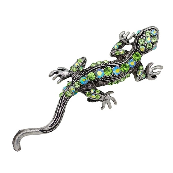 Akianna Antique Silver-tone Swarovski Element Crystals Green Lizard Pin Brooch - CH12MA946VR