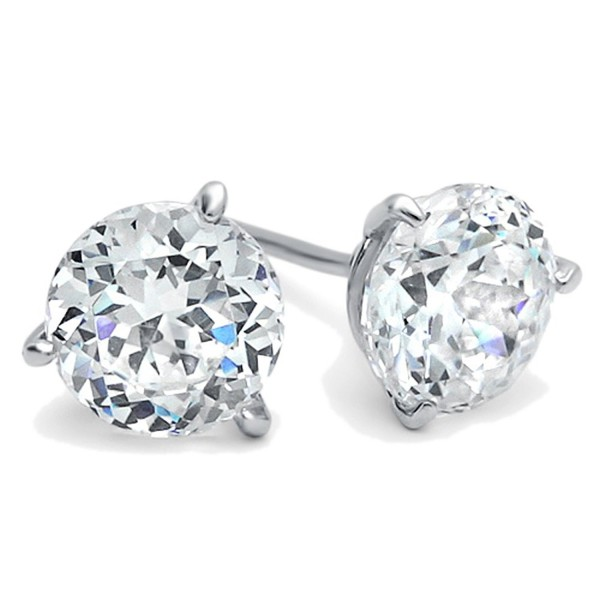 Diamoni Collection Rhodium Plated Sterling Silver 2.5 cttw Round CZ Martini Three Prong Stud Earrings - C4110IYBG5X