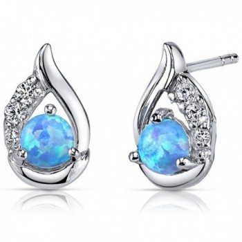 Created Blue Opal Earrings Sterling Silver Round Cabochon 1.00 Carats - CT11NK4XPDJ