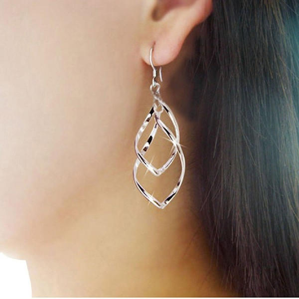 Coromose Fashion Women Alloy Plated Stud Dangle Earings Eardrop Jewelry Silver - CA121R25NN5