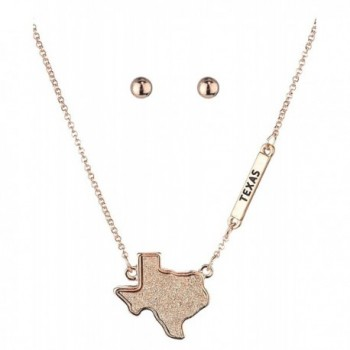 Women's Druzy Texas State Pendant Necklace and Ball Earrings Set - Rose Gold-Tone - CL186HZ0TWU