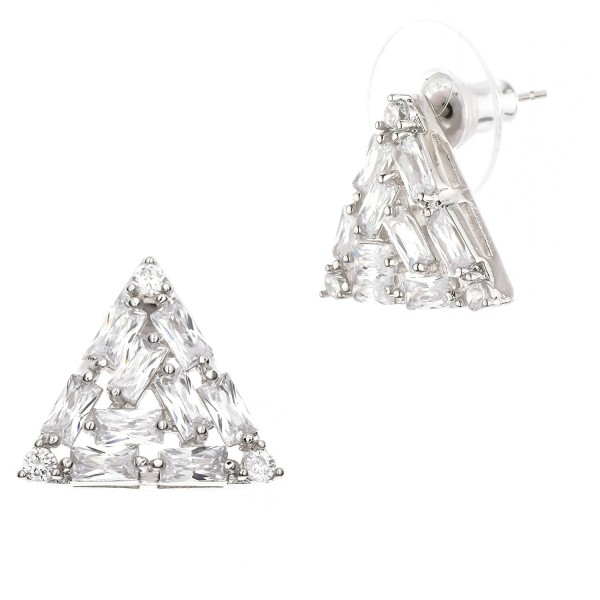 Buyless Fashion Hypoallergenic Surgical Steel Triange Stud Earrings In Gift Box - White - CE188T6ATTQ