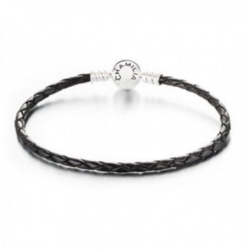 Chamilia Sterling Silver Small Black Leather Charm Bracelet w/ Round Clasp 7.1 in / 18 cm 1030-0125 - CO12CSWBP53
