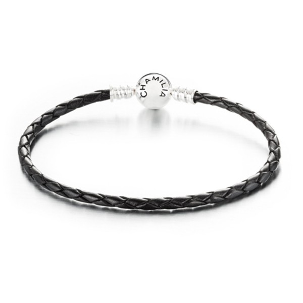 9b779f86f Chamilia Sterling Silver Small Black Leather Charm Bracelet w/ Round Clasp  7.1 in / 18
