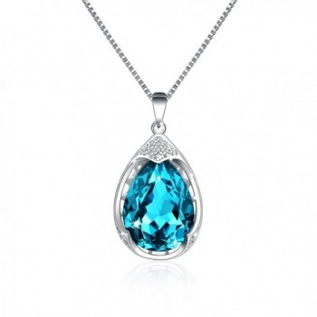 Osiana Womens Teardrop and Oval Shaped Pendant Fashion Necklaces Made with SWAROVSKI Crystal in Gift Box - Aqua - C112J6L2GVV