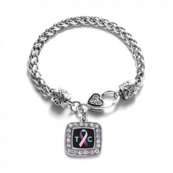 Thyroid Cancer Awareness Classic Silver Plated Square Crystal Charm Bracelet - CP11K6OBQ5P