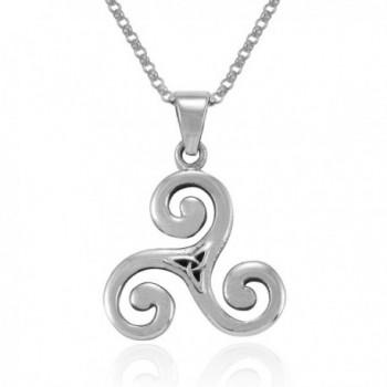 MIMI Sterling Silver Celtic Triple Spiral Triskele Triskelion Swirl Pendant Necklace- 18 inches - CN1275WILB7