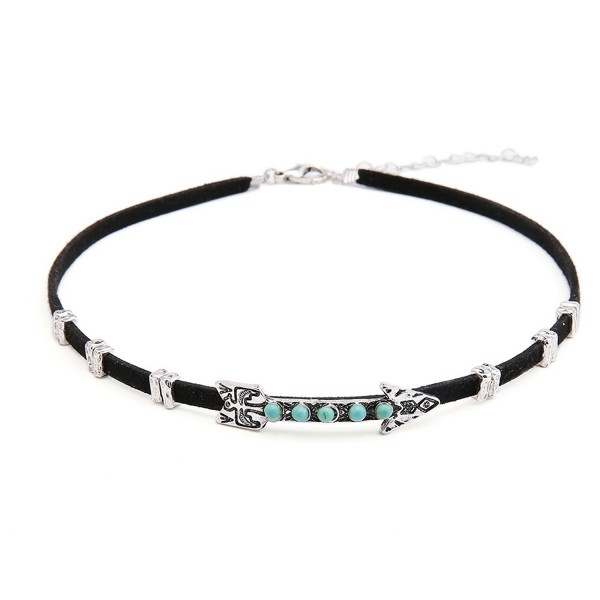 Sujarfla Women Gothic Alloy Arrow Choker Necklace with Turquoise Inlay - silver - CT183CD355N