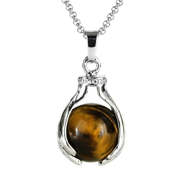 BEADNOVA Healing Gemstone Necklace Stainless - 02) Brown Tiger Eye - CO128VD05LD