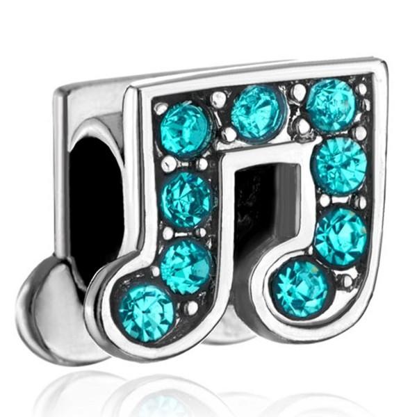 LovelyJewelry Blue Crystal Birthstones Music Note Beads For Chamilia Biagi Charm Bracelet - C811RB3LQC7