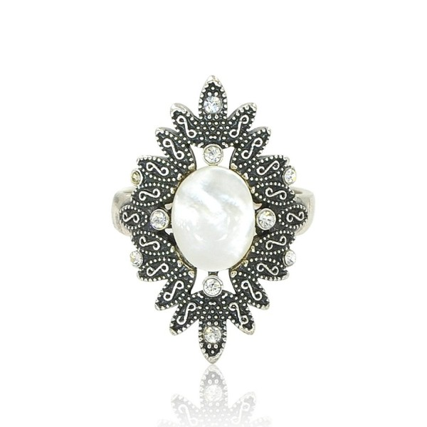 Womens Vintage Silver Flower Statement Ring - CQ12F6T24GT