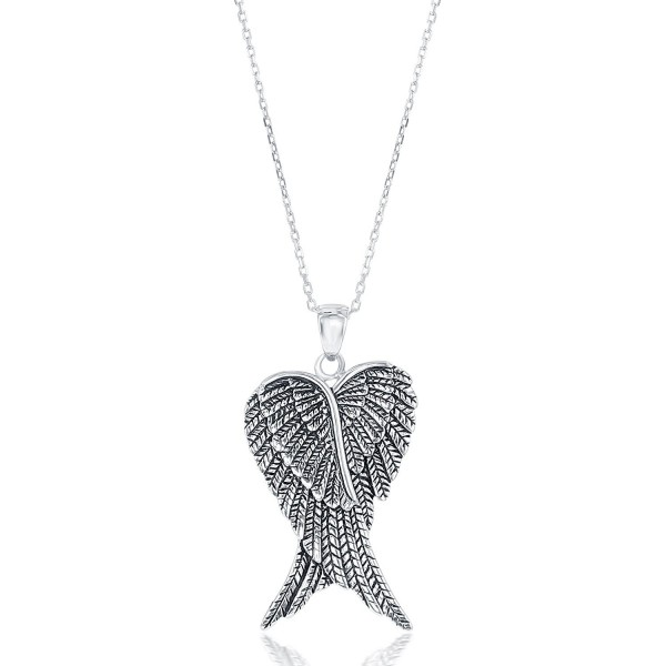 Sterling Silver Double Angel Pendant - Silver - CW11RWUUSXR