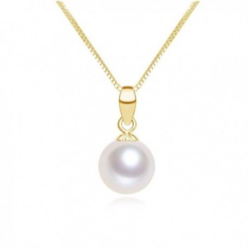 """White Freshwater Cultured Pearl Pendant Necklace 18"""" - CR183GNDNST"""