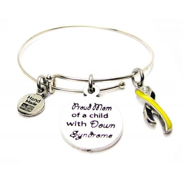 Proud Mom Of A Child With Down Syndrome With Awareness Ribbon Single Stacker Bracelet - C812J2A9U19