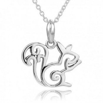 "925 Sterling Silver Open Squirrel Pendent Necklace- 18"" - CZ12EAFQPHD"