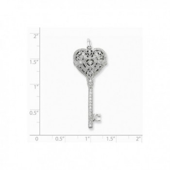 Sterling Silver Rhodium Plated Synthetic CZ Heart Key Locket - CE119CBK2G7