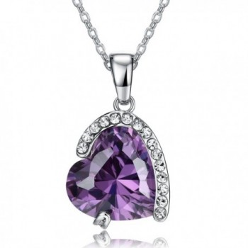 "18K Platinum-Plated with Zirconia Heart Pendant Necklace (10 cttw)- 18"" - Purple - C0126HYI7U9"