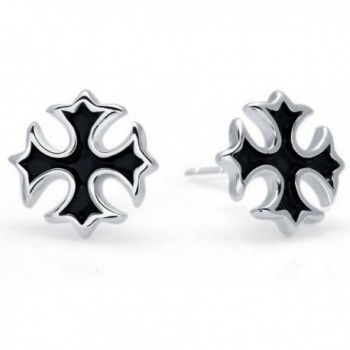 Lorina Religious Black Christian Cross Stud Earrings 925 Sterling Silver for Women Men Kids - CH182MEN8C9