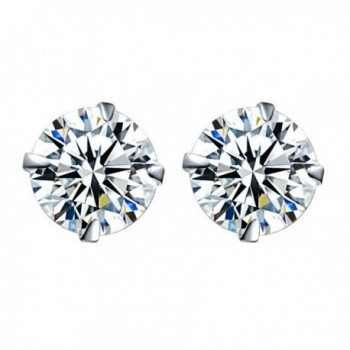 Stud Earrings for Women- Sterling Silver Round Cut Cubic Zirconia Stud Earrings for Girls - White - CN189WQTZE5